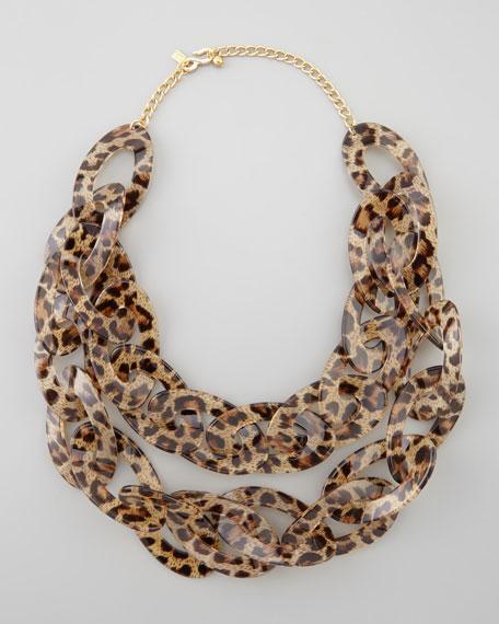 Double-Strand Leopard-Print Enamel Necklace, Brown