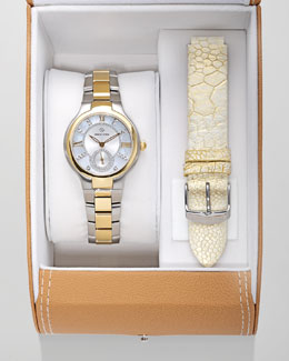 Philip Stein Small Two-Tone Mother-of-Pearl Diamond Watch & Ostrich Strap Gift Set