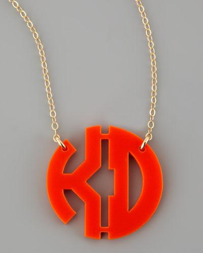 Acrylic Block Two-Letter Monogram Pendant Necklace