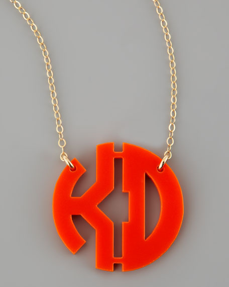 Acrylic Block Two-Letter Monogram Pendant Necklace
