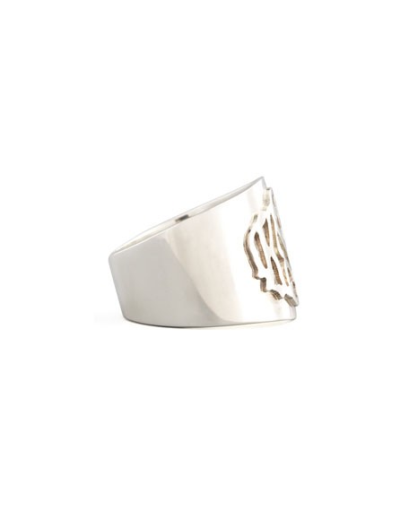 Moon and Lola Monogram Script-Lettered Silver Cigar Ring
