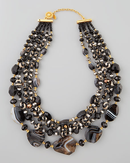 Four-Strand Black Agate Bead Necklace