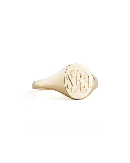 Gold Lana Monogrammed Oval Signet Ring, Petite