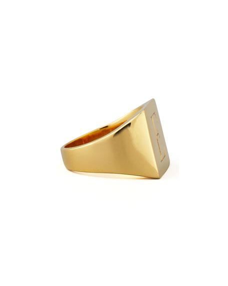 Sarah Chloe Letter-Engraved Square Signet Ring