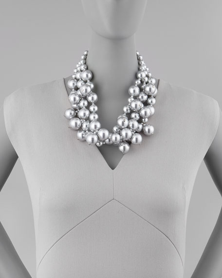 Simulated Pearl Cluster Necklace, Silver