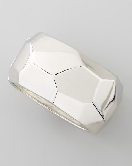 Kenneth Jay Lane Silver Geometric Hinged Bangle