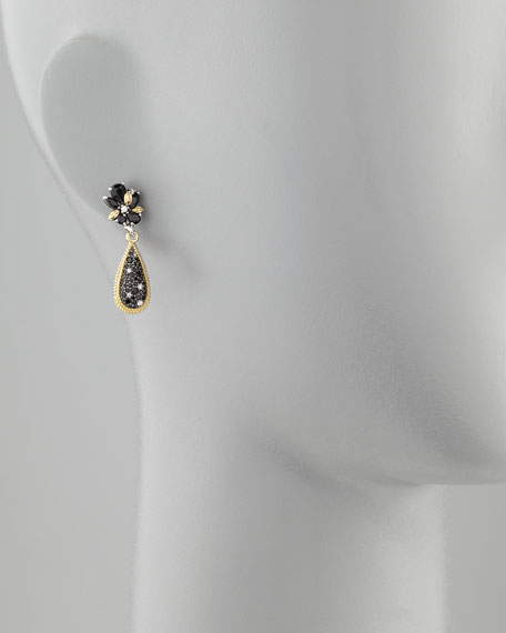 Nightfall Silver/18k Spinel Teardrop Earrings, 33mm