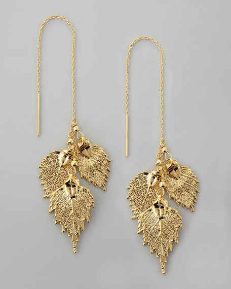 Golden Leaf Threader Earrings