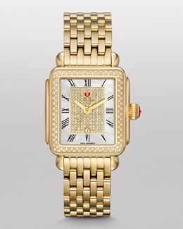 MICHELE Deco Diamond Watch Head, White/Gold
