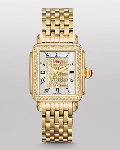 Deco Diamond Watch Head, White/Gold