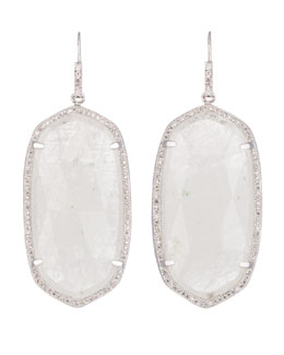 Kendra Scott Luxe Large Pave-Trim Rock Crystal Drop Earrings