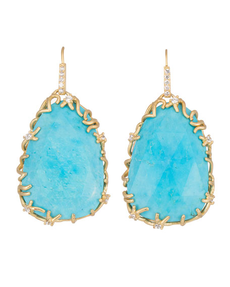 Large Branch-Bezel Drop Earrings, Turquoise