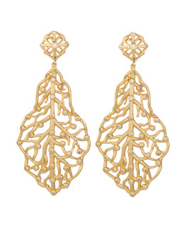 Kendra Scott Luxe Pave CZ Branch Hourglass Earrings, Gold Plate