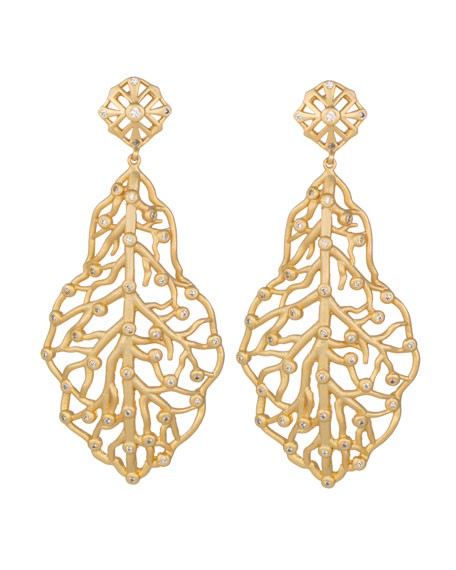 Pave CZ Branch Hourglass Earrings, Gold Plate