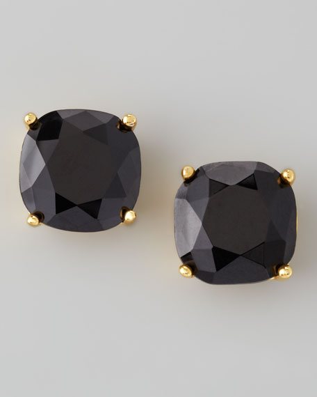 small square stud earrings, jet black