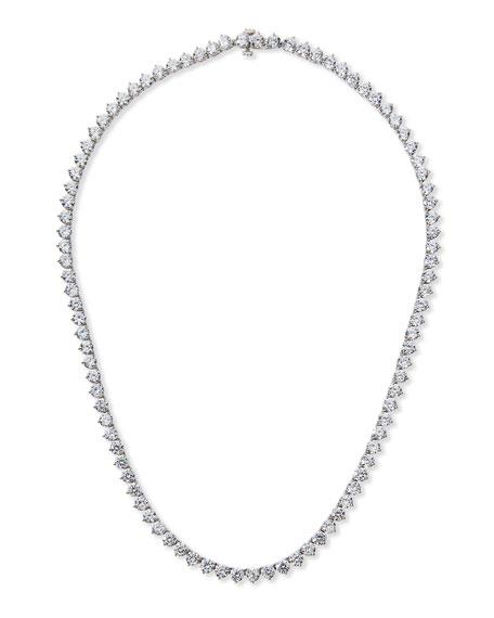 Fantasia by DeSerio Three-Prong CZ Vermeil Tennis Necklace