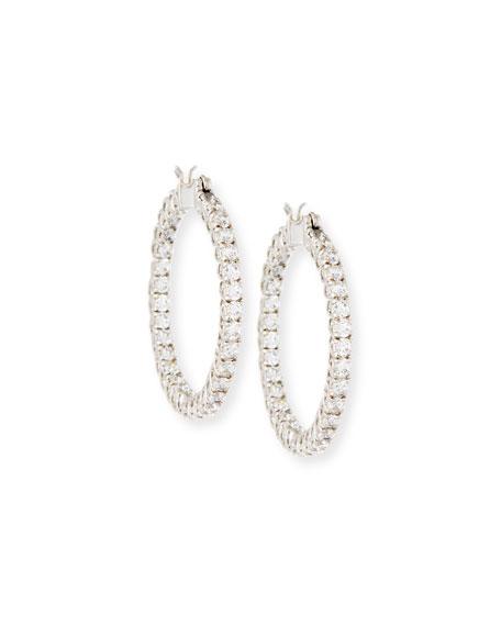 Large Cubic Zirconia Hoop Earrings, 3.2 TCW