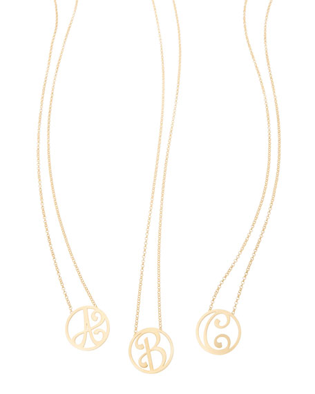 """Mini Single Initial Necklace, Yellow Gold, 18"""""""