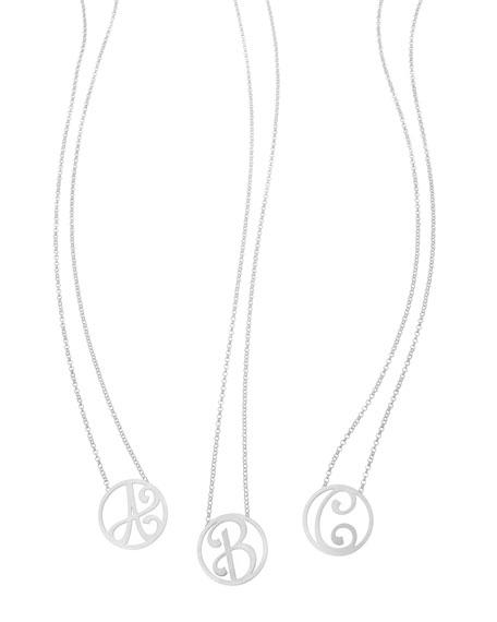 "Mini Single Initial Necklace, Rhodium Silver, 18"""