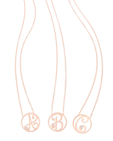 "Mini Single Initial Diamond Necklace Gold, 18"""