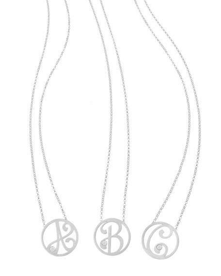 "Mini Single Initial Diamond Necklace, Rhodium Silver, 18"""