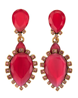 Oscar de la Renta Bold Pear-Shaped Drop Clip-On Earrings, Sorbet
