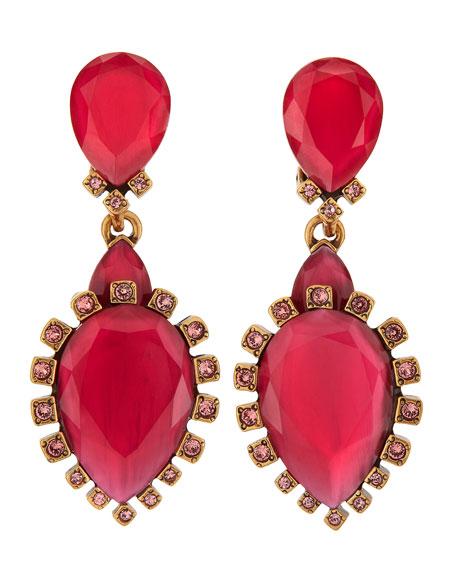 Bold Pear-Shaped Drop Clip-On Earrings, Sorbet