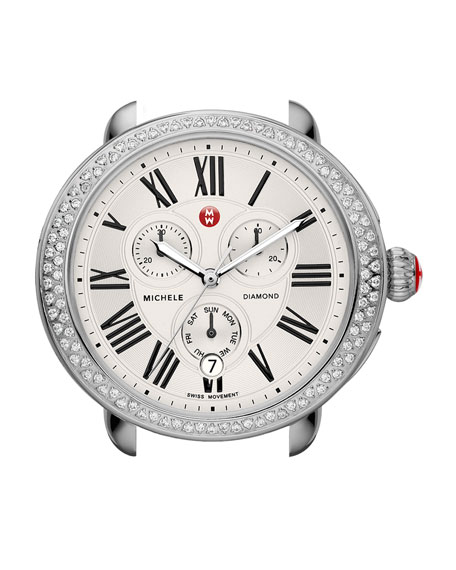MICHELE Serein Diamond Watch Head & 18mm Espresso