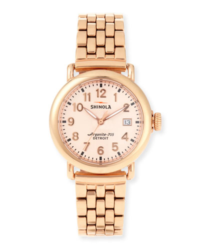 The Runwell Rose Gold Watch with Bracelet Strap, 36mm