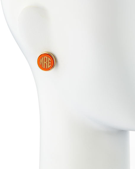 Image 2 of 3: Moon and Lola Block-Letter Monogrammed Acrylic Stud Earrings