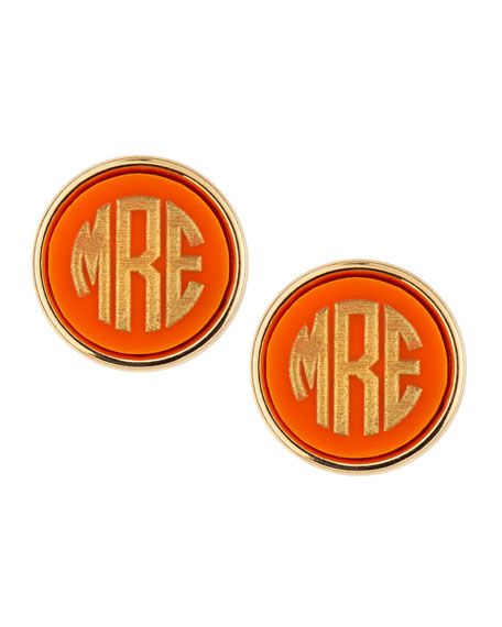 Image 1 of 3: Moon and Lola Block-Letter Monogrammed Acrylic Stud Earrings