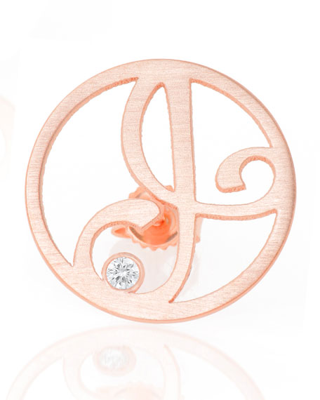 K Kane Singular Mini One-Initial Diamond Stud Earring,
