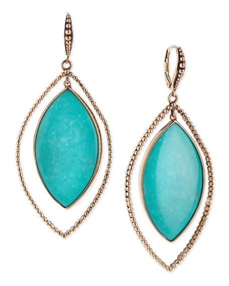Nouveau Beaded Turquoise Marquis Earrings