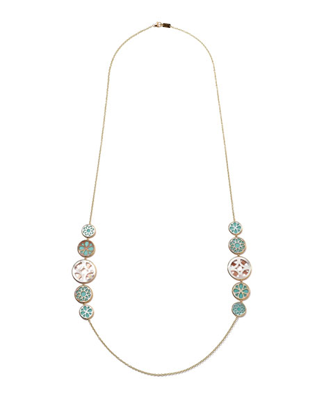 18k Gold Polished Rock Candy Cutout Linear Station Necklace