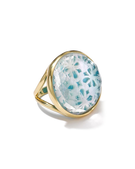 18k Gold Polished Rock Candy Round Cutout Doublet Ring, Isola