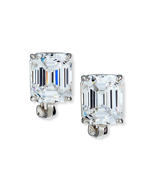 13 0 Carat Cubic Zirconia Emerald Cut Stud Earrings