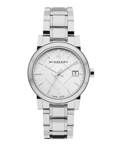 Burberry 34mm Stainless Steel Watch with 5-Link Strap