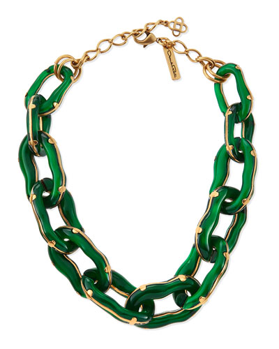 Oscar de la Renta Green Resin Link Necklace