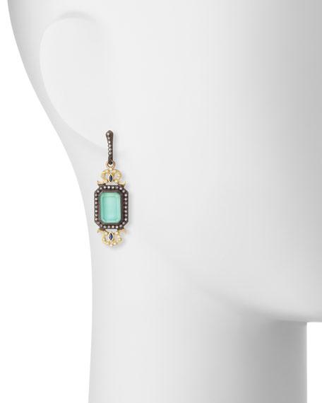 Green Turquoise Filigree Drop Earrings with Diamonds