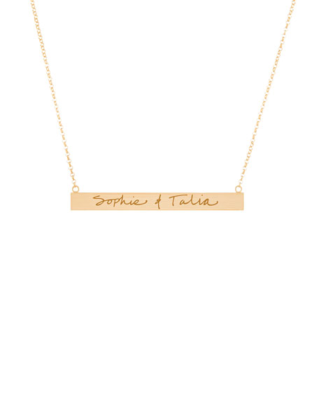 K Kane 18k Vermeil Customizable Graffiti Bar Necklace