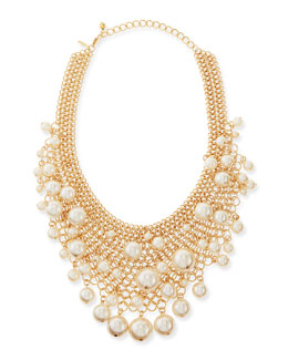 Kenneth Jay Lane Gold-Plated Mesh Bib Necklace with Simulated Pearls