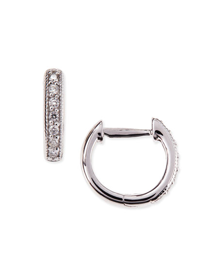 Small 18K White Gold Huggie Hoop Earrings with Diamonds, 11mm