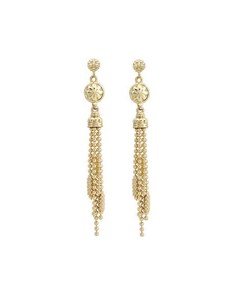 18k Gold Caviar Chain Tassel Earrings