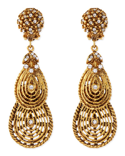 Jose & Maria Barrera Gold-Plated Flower Clip-On Earrings with Crystals