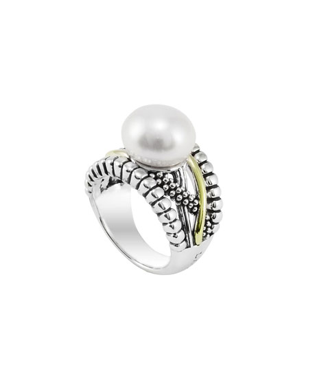 Silver & Gold Luna Pearl Ring, 12mm