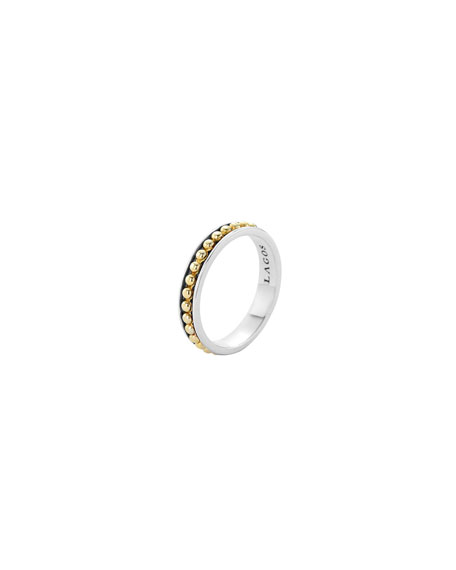 lagos 3mm stackable silver 18k enso ring