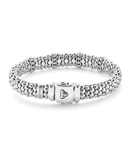 9mm Sterling Silver Enso Bar Caviar Rope Bracelet
