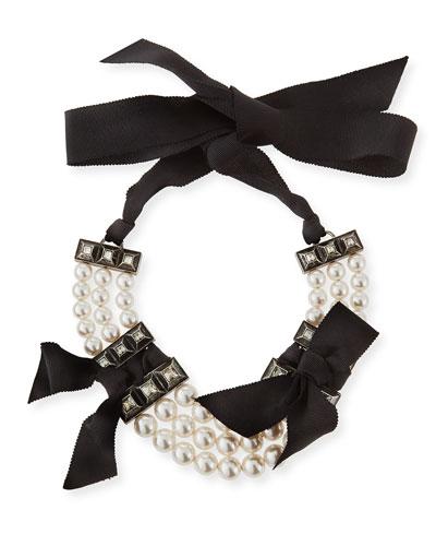 Short Black Grosgrain Pearly Bib Necklace
