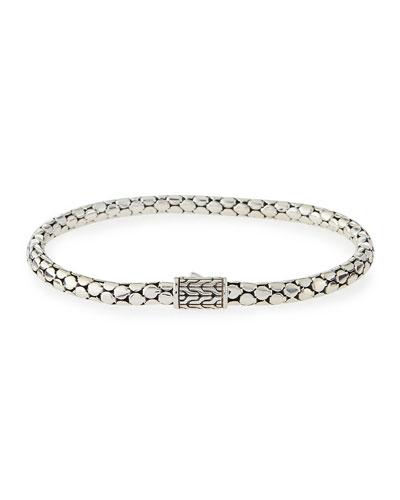 Dot Silver 4.3mm Small Chain Bracelet, Size M