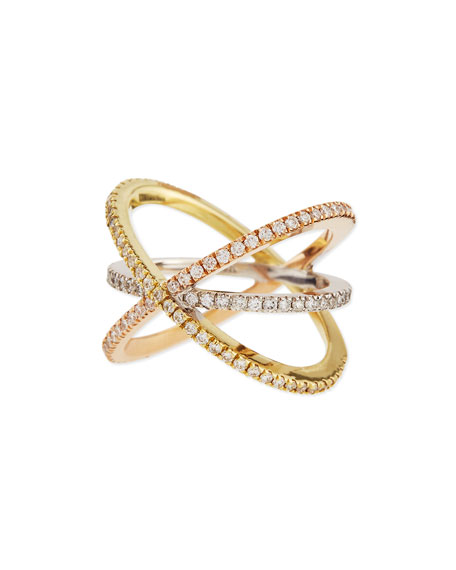 18K Tricolor Gold Diamond Double-Crisscross Ring